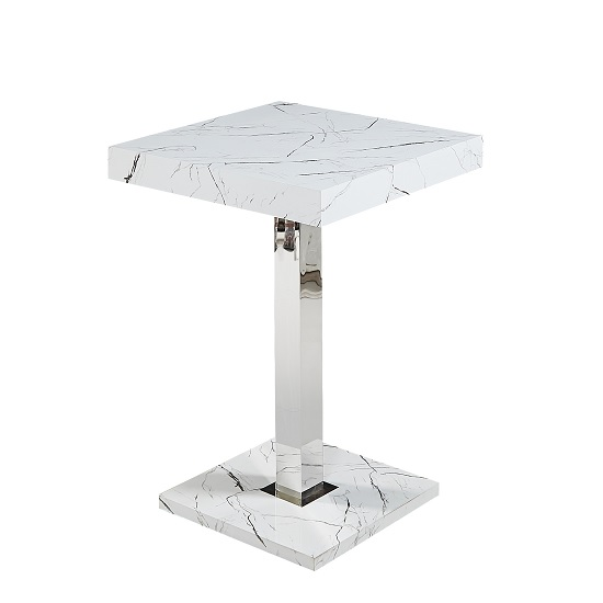 Palmero Marble Effect Bar Table Square In Glossy Finish