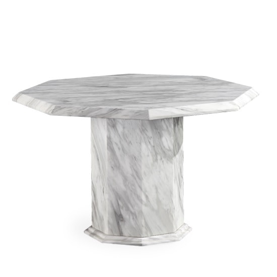 Palermo Marble Effect Wooden Dining Table Octagonal In Grey