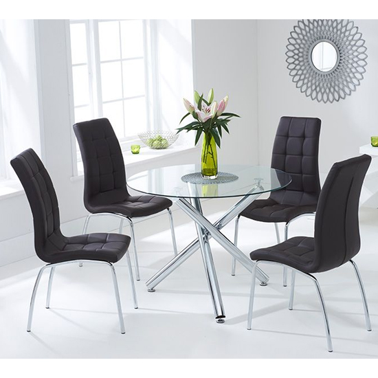 View Palmao round glass dining table with 4 gala black dining chairs