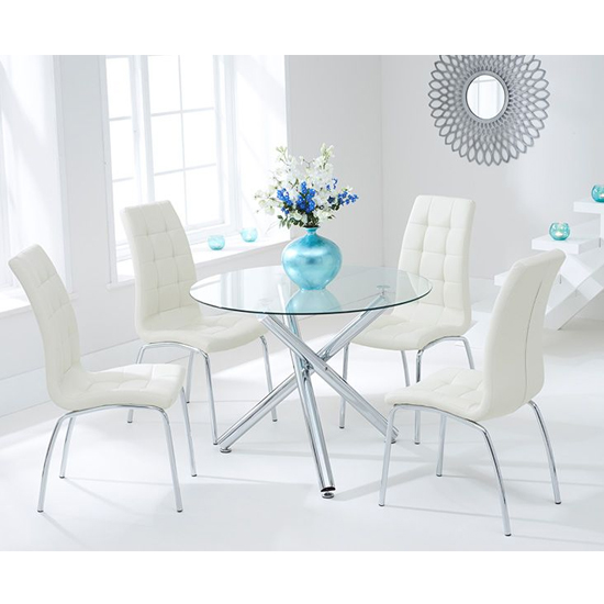 View Palmao round glass dining table with 4 gala cream dining chairs