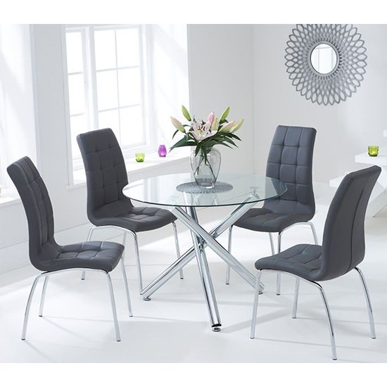 Palmao Round Glass Dining Table With 4 Gala Grey Dining Chairs