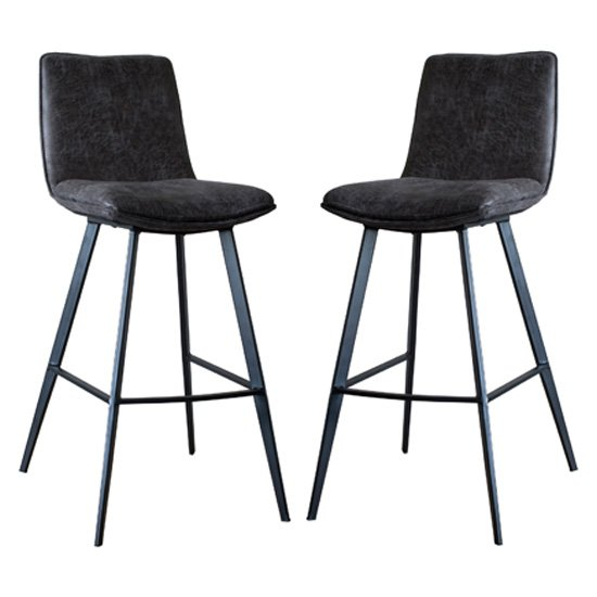 Palmer Grey Faux Leather Bar Stools In Pair