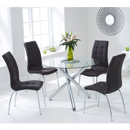 Palmao Round Glass Dining Table With 4 Gala Brown Dining Chairs_1