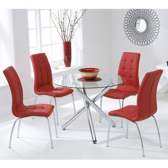 Palmer Round Glass Dining Table With 4 Gala Red Dining Chairs