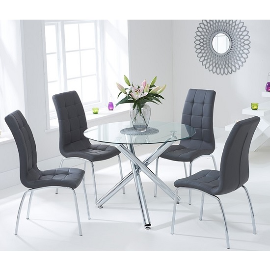Palmer Round Glass Dining Table With 4 Gala Grey Dining Chairs