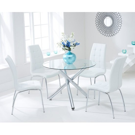 Palmer Round Glass Dining Table With 4 Gala White Dining Chairs_1