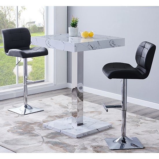 Palmero Gloss Bar Table In Vida Marble Effect With 2 Candid Black Bar Stools