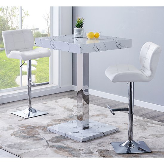 Palmero Gloss Bar Table In Vida Marble Effect With 2 Candid White Bar Stools