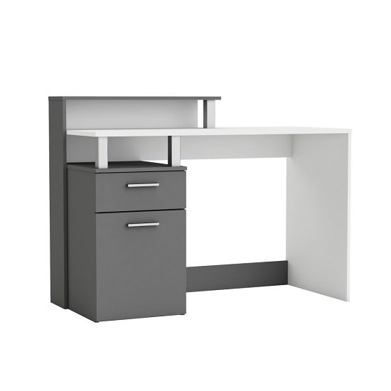 Palmira Modern Computer Desk In Matt White And Dark Grey_1