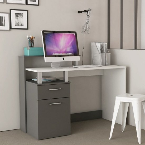 Palmira Modern Computer Desk In Matt White And Dark Grey_2