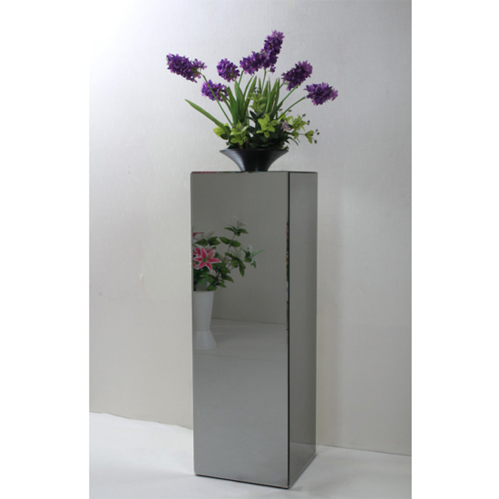 Palo Mirrored Wooden Pedestal In Grey