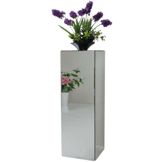 Palo Mirrored Wooden Pedestal In Silver_2