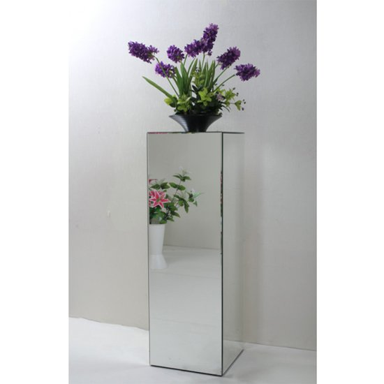 Palo Mirrored Wooden Pedestal In Silver