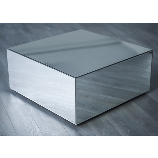 View Palo square mirrored wooden coffee table in silver