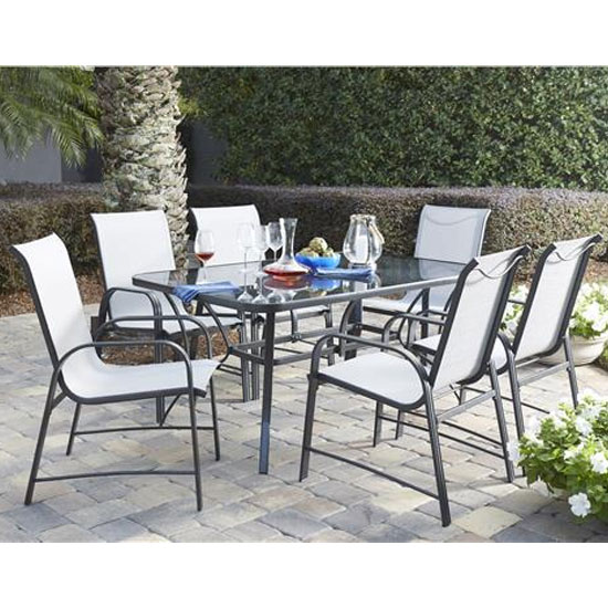 Paloma Steel Glass Top Dining Table In Grey With 6 Chairs