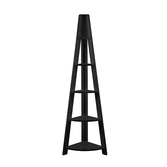 Paltrow Corner Shelving Unit In Black With Ladder Style