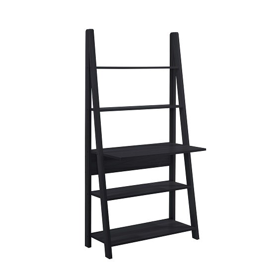 Paltrow Computer Desk In Black With Ladder Style And Shelving