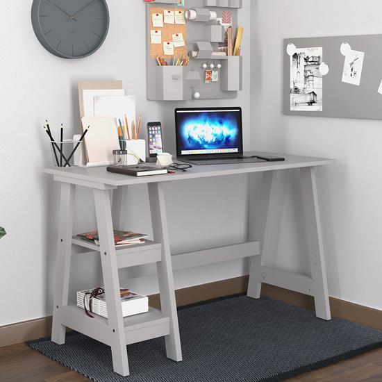 View Paltrow wooden computer desk in grey