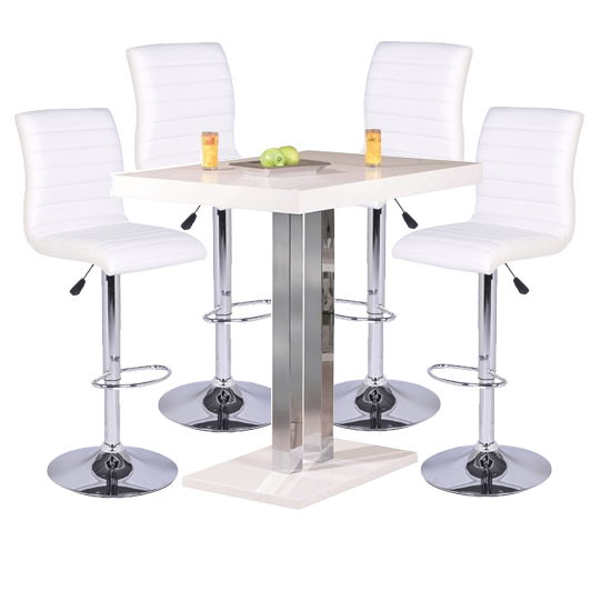 Palzo Bar Table In High Gloss With 4 Ripple White Stools