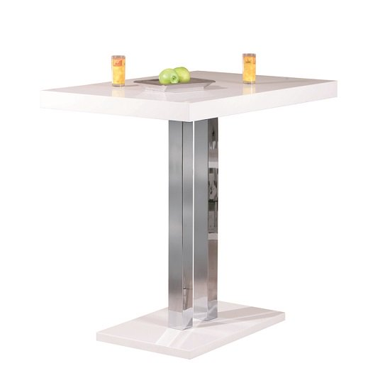 Palzo Bar Table In White High Gloss With 4 Ripple Grey Stools_2