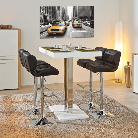 Palzo Bar Table In White High Gloss With Chrome Poles_4
