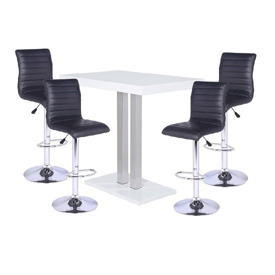 Gino Bar Table In Clear Glass And 2 Leoni Bar Stools In