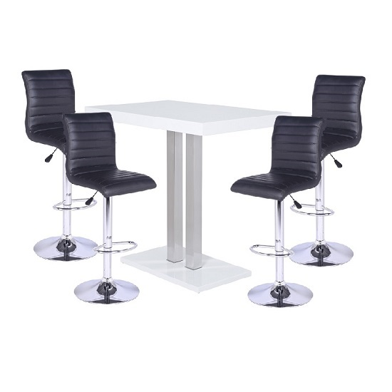 Palzo Bar Table In White High Gloss With 4 Ripple Black Stools
