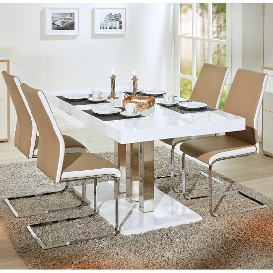 Palzo Dining Table In White Gloss With 4 Marine Beige Chairs