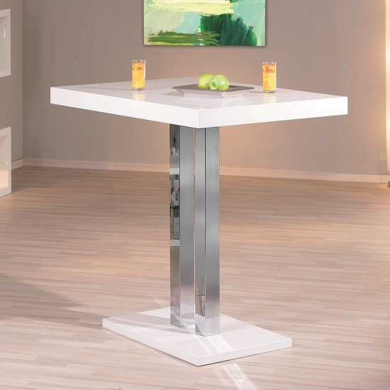 Palzo Bar Table In White High Gloss With Chrome Poles 1
