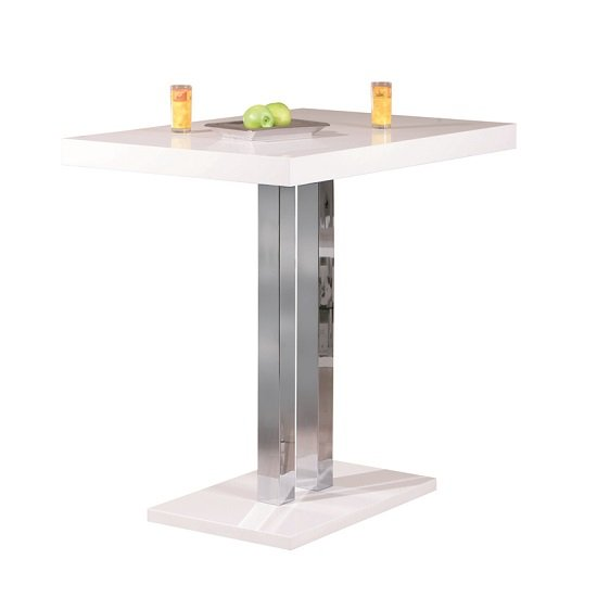 Palzo Bar Table In White High Gloss With Chrome Poles_2
