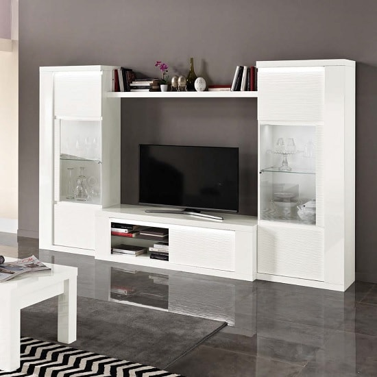 Image of Pamela Living Room Set In White High Gloss With LED Lighting