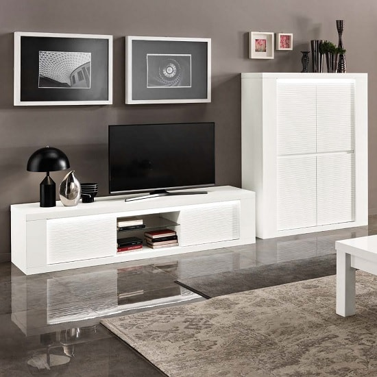 Image of Pamela Living Room Set 1 In White High Gloss With LED Lighting