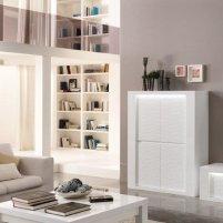 Pamela Bar Unit In White High Gloss With Lighting