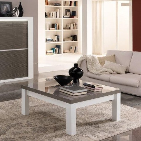 Straas Curved High Gloss Coffee Table In White: Pamela Coffee Table Square In White And Grey High Gloss