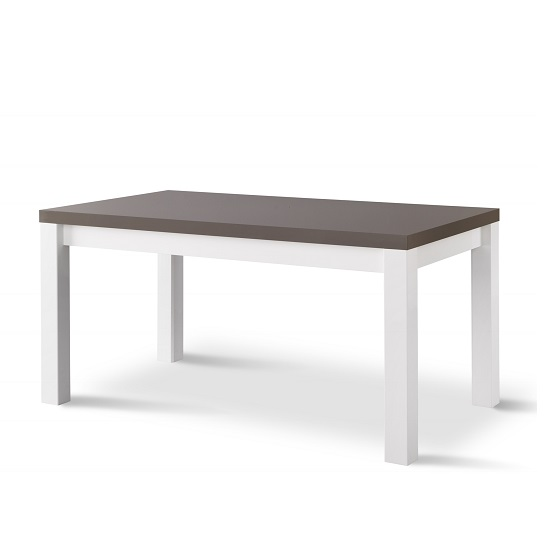 Pamela Dining Table Rectangular In White And Grey High Gloss