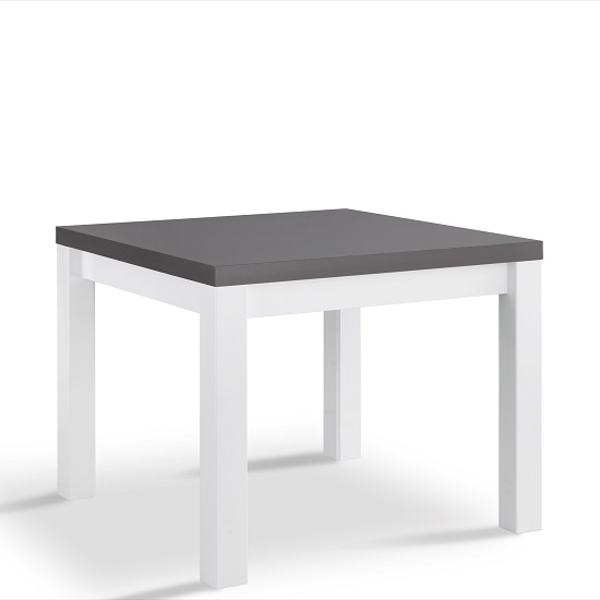 Table Carree Blanche: Pamela Dining Table Square In White And Grey High Gloss