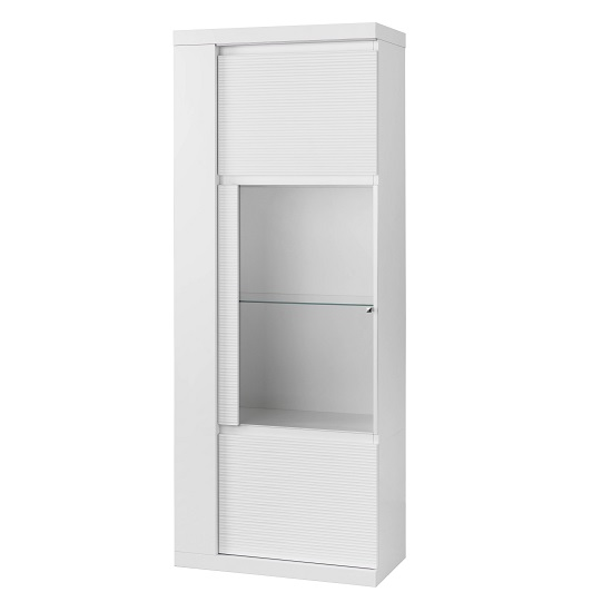 Pamela Display Cabinet In White High Gloss With LED