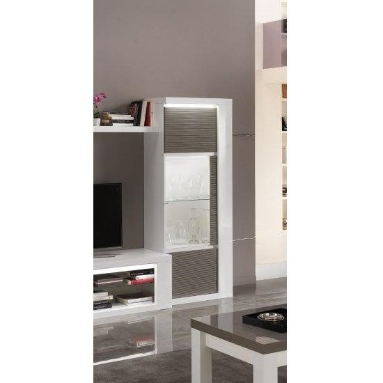 Pamela Display Cabinet In White High Gloss And Grey With
