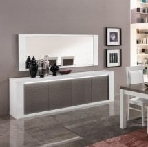 Pamela High Gloss Sideboard Large In White And Grey With Lights