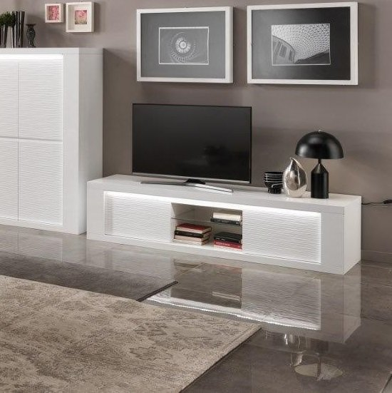 Pamela TV Stand Large In White High Gloss With Lighting