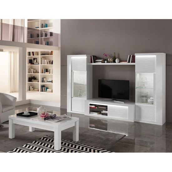 Pamela Modern TV Stand In White High Gloss With Lighting_2