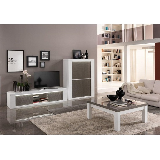 Pamela Coffee Table Square In White And Grey High Gloss_3