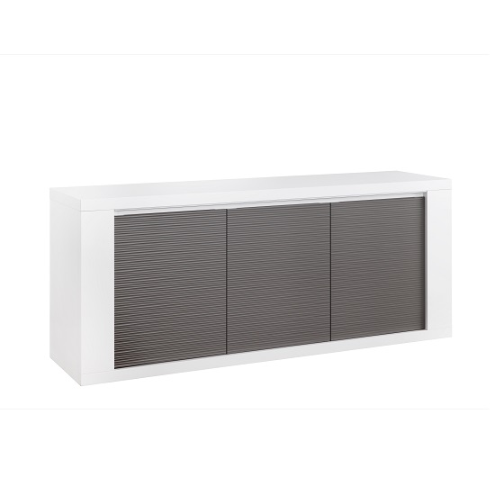 Pamela High Gloss Sideboard In White And Grey With Lighting_2
