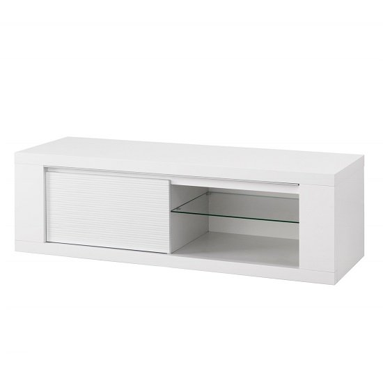 Pamela Modern TV Stand In White High Gloss With Lighting