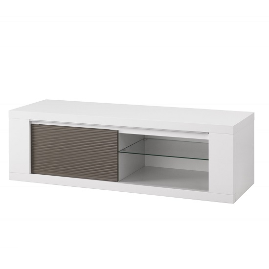 Pamela High Gloss TV Stand In White And Grey With Lighting