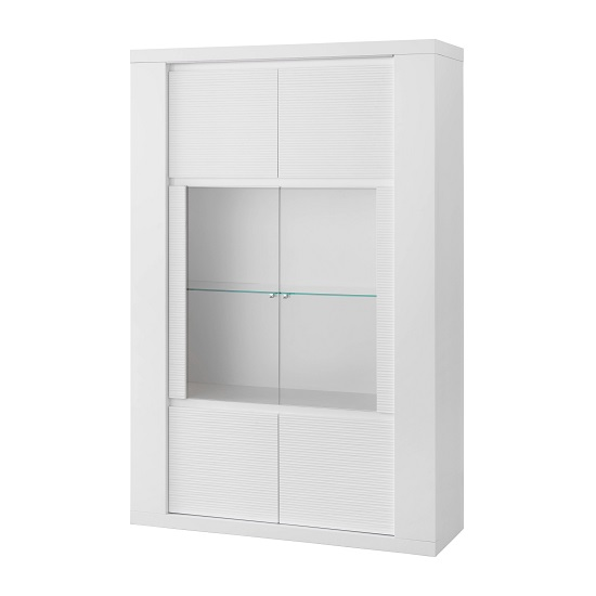 Pamela Display Cabinet Wide In White High Gloss With LED