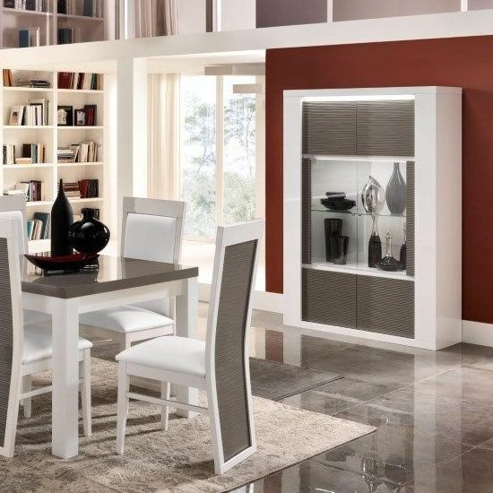 Pamela Display Cabinet Wide In White Gloss And Grey With LED