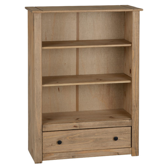 Panama Wooden 1 Drawer Bookcase In Natural Wax