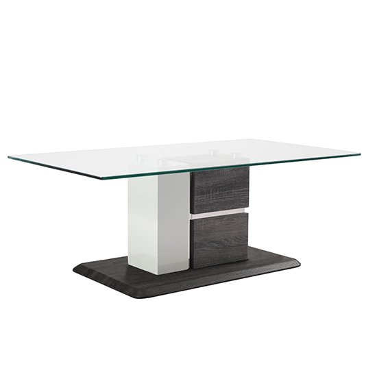 Panama Glass Coffee Table With Dark Grey Wooden Base