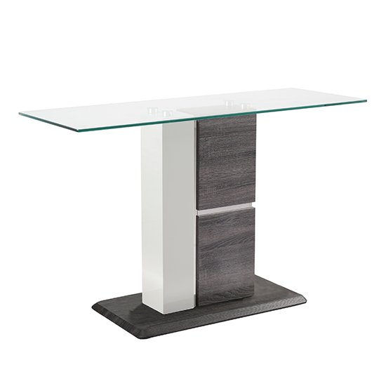 Panama Glass Console Table With Dark Grey Wooden Base_1